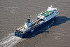 An aerial photo of a P&O Ferry in the North Sea.