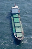 An aerial photo of a cargo ship in the North Sea.