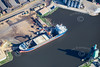 Aerial photo of a ship in Goole Docks.