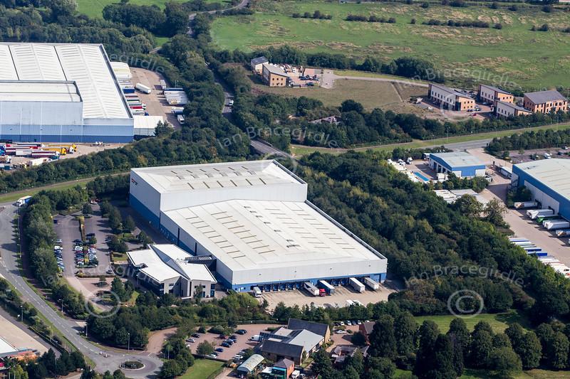Aerial photo of industrial buildings in Swan Valley, Northampton.