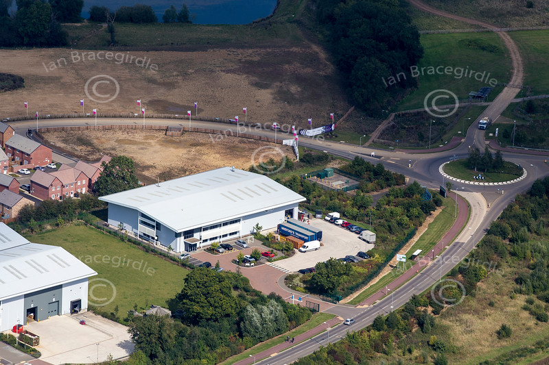 Aerial photo of industrial buildings in Swan Valley, Northampton.