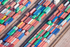 Aerial photo of colourful shipping containers at Tilbury Docks
