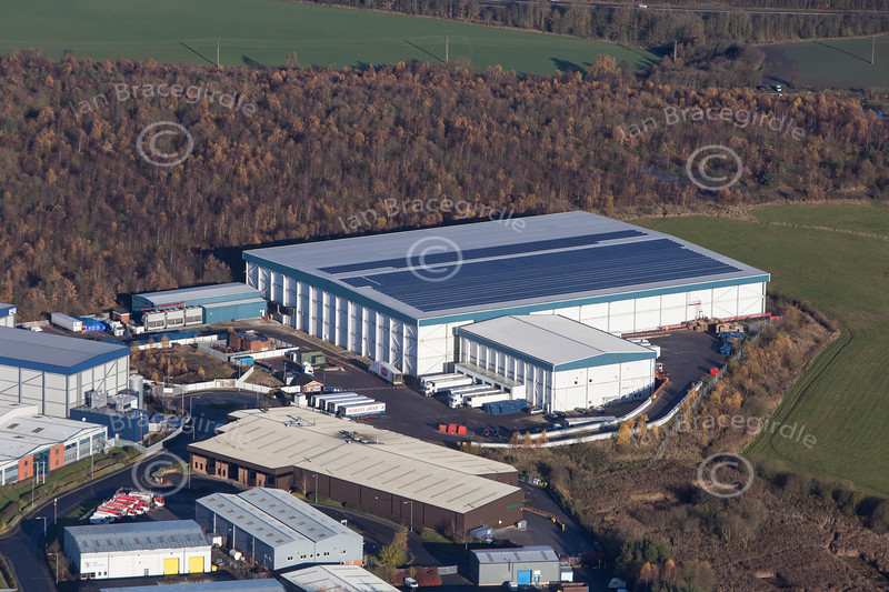 An aerial photo of Holmewood and Williamthorpe industrial Park in Derbyshire.
