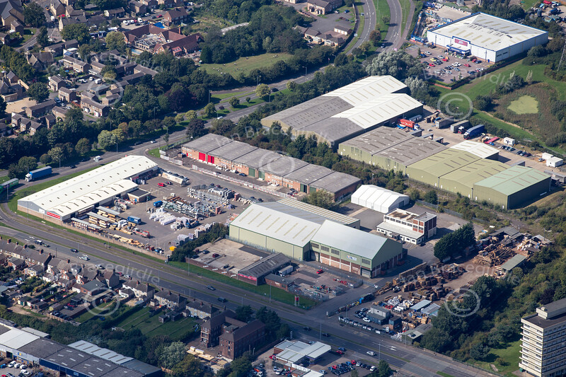 Aerial photo of Willowbrook Industrial Estate Corby in Northamptonshire.