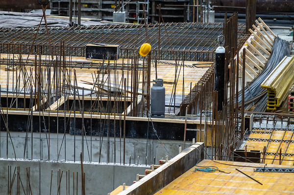 Many details of empty construction site area