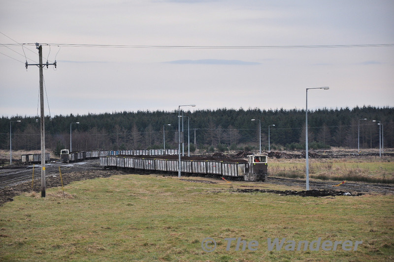 Two more trains of peat arrive at Edenderry Power Station from the East. Sat 20.02.10