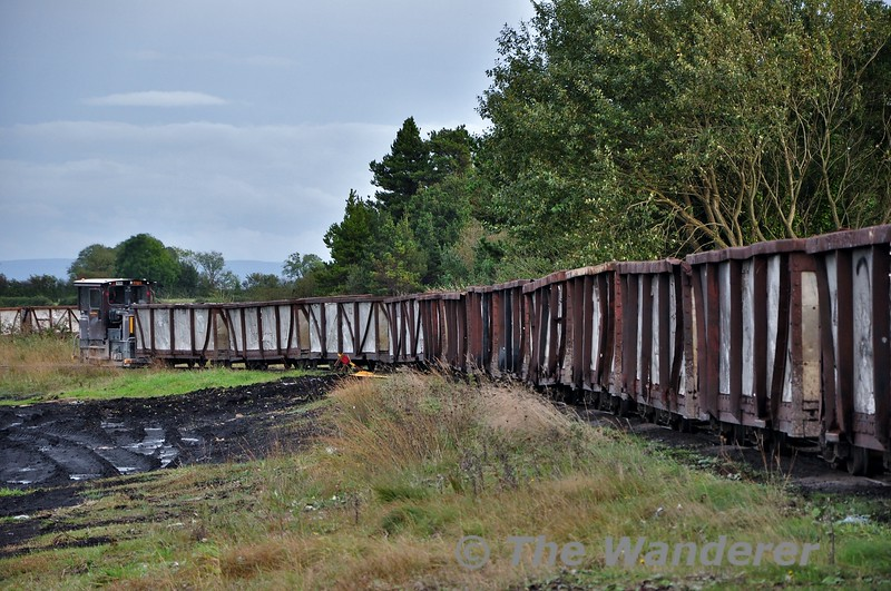 LM409 passes Blackwater Works heading from Shannonbridge to the Bog for loading. Fri 11.10.19