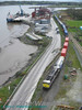 A birds eye view of 086 and its Norfolk Liner train at Belview Port. Fri 11.04.08