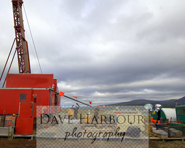 This is a small drilling rig employed by the Pebble Limited Partnership to complete an exploratory drilling core sampling program.  Corporate ID removed for stock photo....