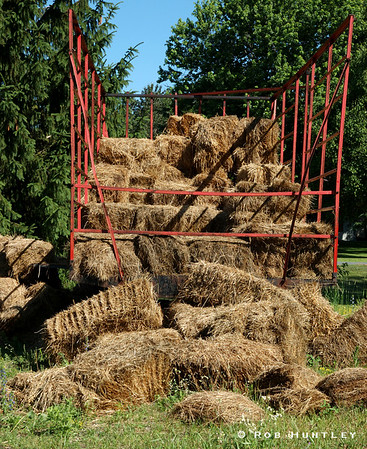 Partly unloaded hay wagon on a rural property in Eastern Ontario.  © Rob Huntley