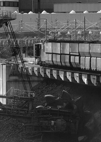 Train dumping lignite at power plant.