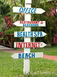 Which way to the beach? Sign at a resort hotel in St. Vincent. © Rob Huntley