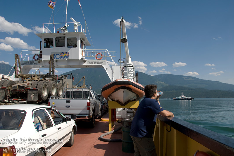 On a ferry crossing Upper Arrow Lake, West Kootenays, Canada - in the background another ferry going the opposite way.