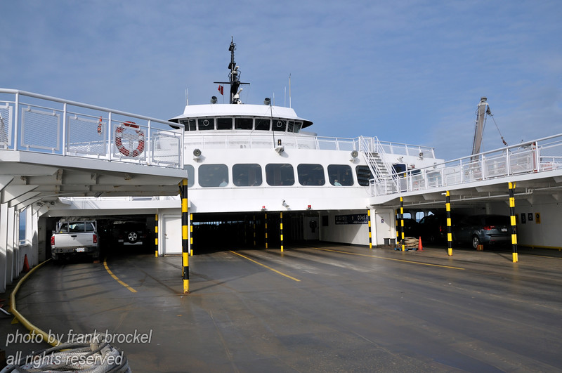 The vehicle deck on one of the ocean going ferries