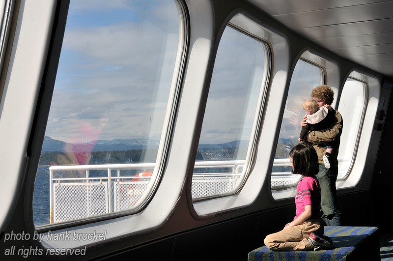 Passengers enjoying the trip aboard the ferry between Tsawassen and Nanaimo, Vancouver Island
