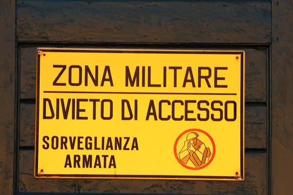 Italy, Venice, Military Zone Sign
