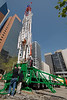 A Drill Rig constructed and owned by Puma Well Service, Brooks, Alberta being exhibited at show downtown Calgary, May 2007