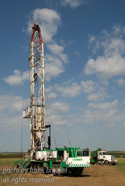 Service rig at work near Brooks, Alberta