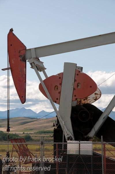 A pumpjack in Albertas foothills