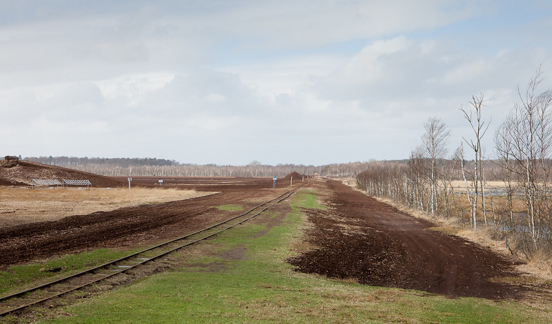One of the active loading areas. Hiking trails and overlooks make the Himmelmoor an attractive area. On weekends, tourist trains are run on the railway.