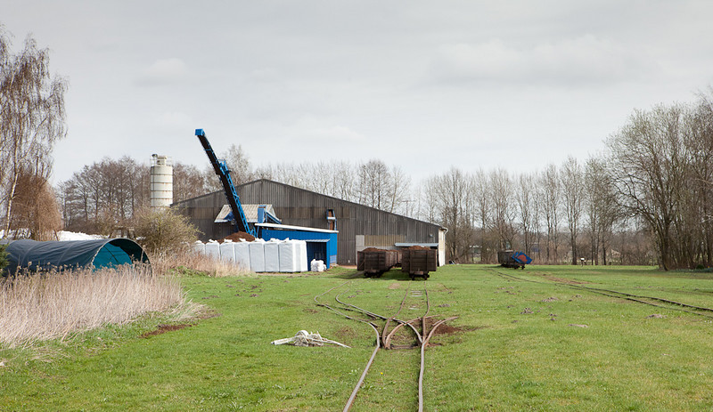 The unloading shed, receiving yard, and an unusual three-way turnout.