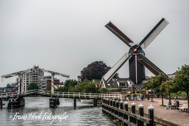Windmill De Put, Leiden Holland. With the Rembrandt bridge