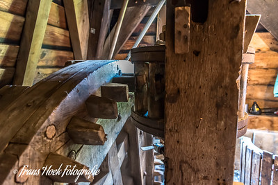 Wip mill De Kikkermolen Leiden Holland. The gear wheel/