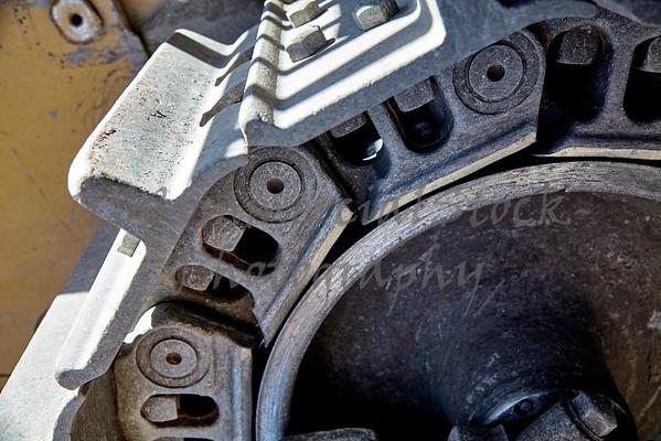 Construction heavy equipment bulldozer track detail
