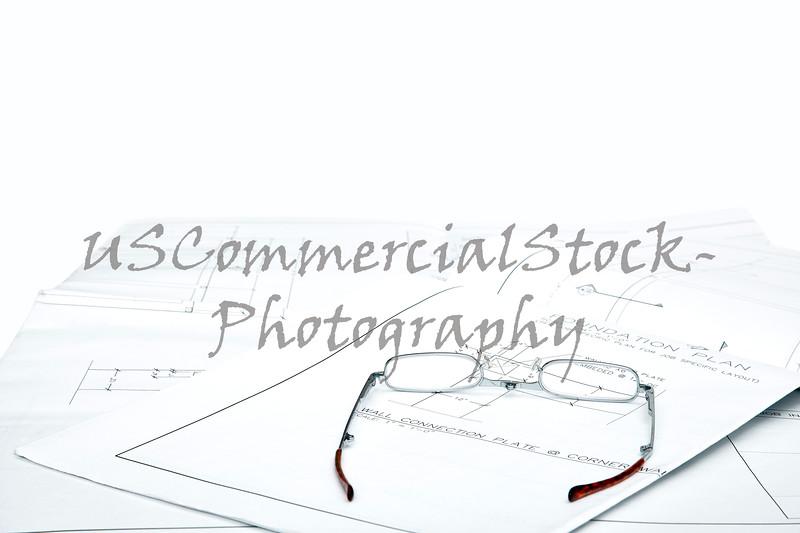 Reading Glasses on blueprints