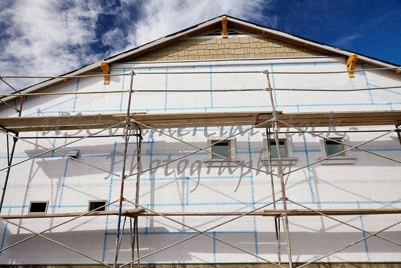 Home building industry house scaffolding for stucco insulation foam