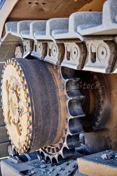 Construction heavy equipment track drive gear closeup