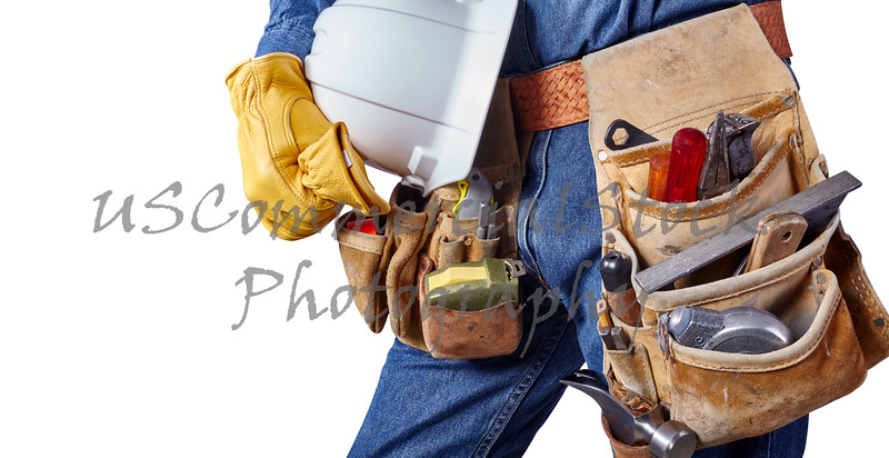 carpenter repair man with tool belt isolated on white