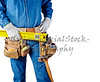 contractor carpenter repair man and tool belt isolated white