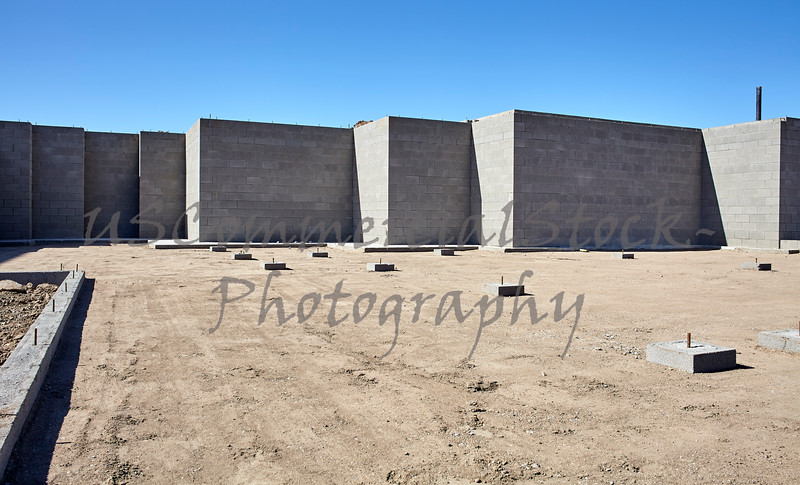 New concrete cement foundation for home building construction industry