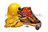 Carpenter tools with toolbag and hardhat
