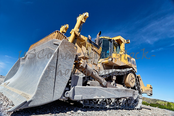 Heavy equipment machine bulldozer on construction jobsite