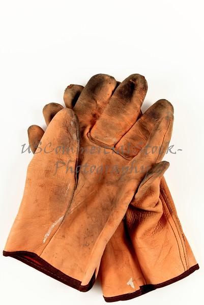 Worn Leather Work Gloves
