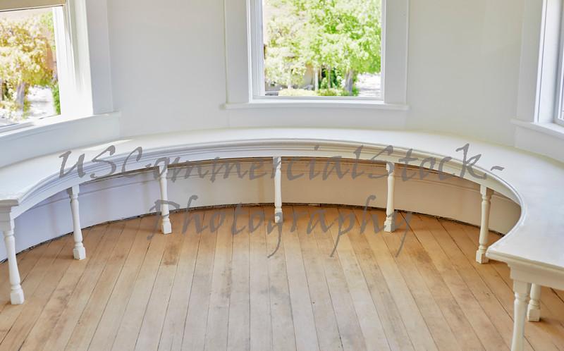 Victorian Style Half Round Wooden Window Bench