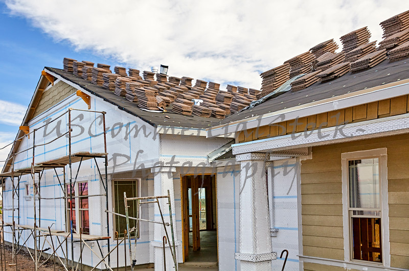 Home building industry house prep for stucco and roofing