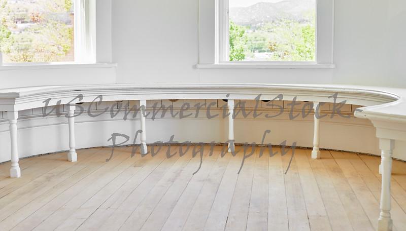 Half Round Wooden Window Bench