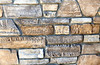 Decorative limestone rock ledge wall closeup