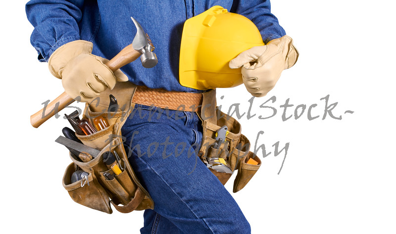 contractor carpenter man with tools isolated on white
