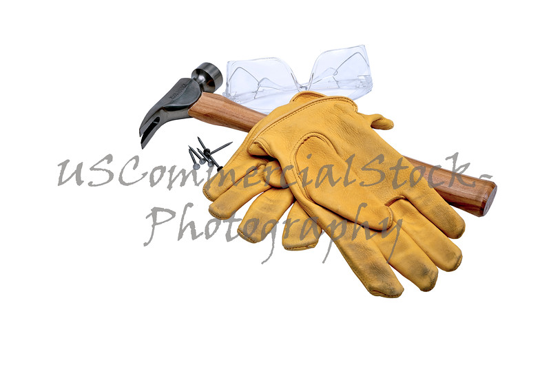 Safety Goggles, Hammer, Nails and Work Gloves