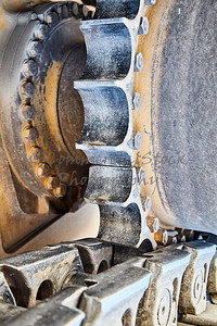 Construction heavy equipment track gear drive closeup