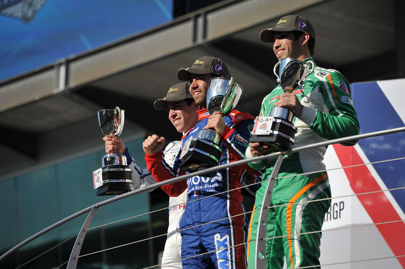 El podium de este viernes (FOTO: Dana Garrett/IMS Photo/Road to Indy)