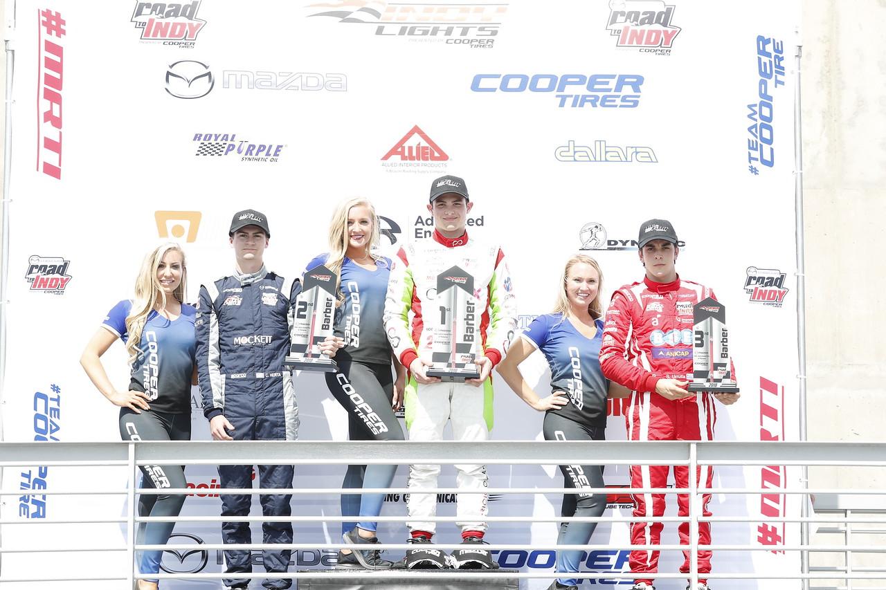 El podium de este sábado (FOTO: Joe Skibinski/IMS, LLC Photo)
