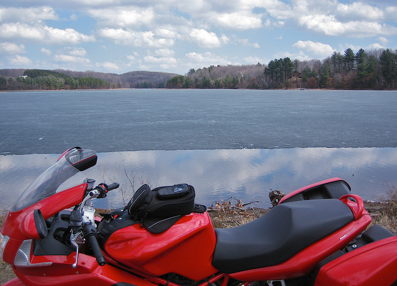 First Spring ride melting ice on the lake.