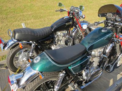 Phil's two beautifully restored Yamaha 650s.