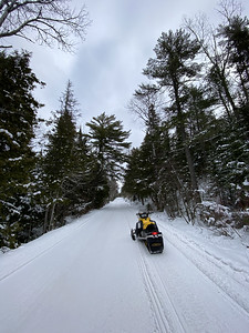 Freshly groomed snowmobile trail, Yooper  country Michigan