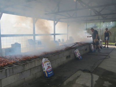 437 chickens on the grill at one time in Rockton Wisconsin Sunday, September 1, 2013.